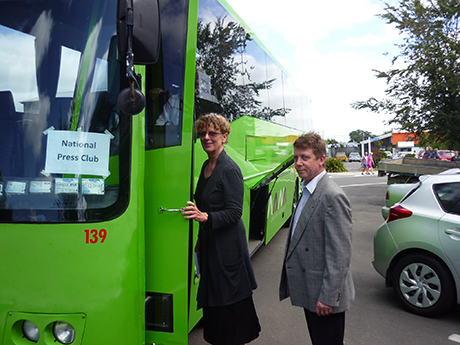 Madeleine de Croy and Al Gustafson board the National Press Club bus for the journey back to Wellington