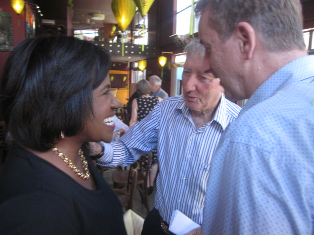 Victoria Gaither with National Press Club treasurer Bryan Weyburne and Dr Ian Coutts